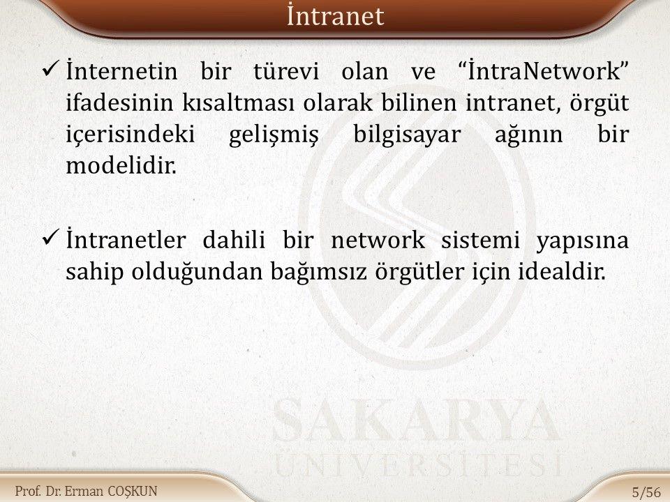 """Prof. Dr. Erman COŞKUN İntranet İnternetin bir türevi olan ve """"İntraNetwork"""" ifadesinin kısaltması olarak bilinen intranet, örgüt içerisindeki gelişmi"""