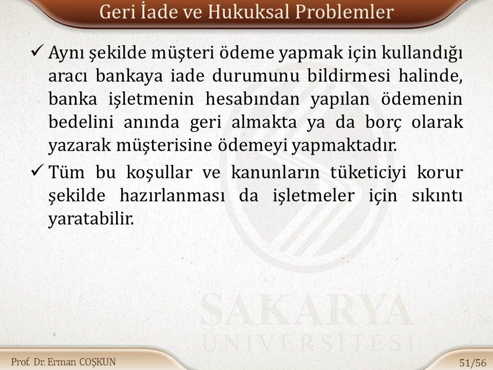Prof. Dr. Erman COŞKUN Geri İade ve Hukuksal Problemler Aynı şekilde müşteri ödeme yapmak için kullandığı aracı bankaya iade durumunu bildirmesi halin