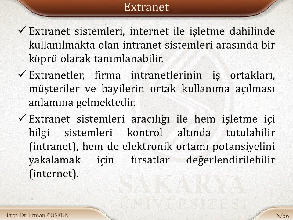 Prof. Dr. Erman COŞKUN Extranet Extranet sistemleri, internet ile işletme dahilinde kullanılmakta olan intranet sistemleri arasında bir köprü olarak t