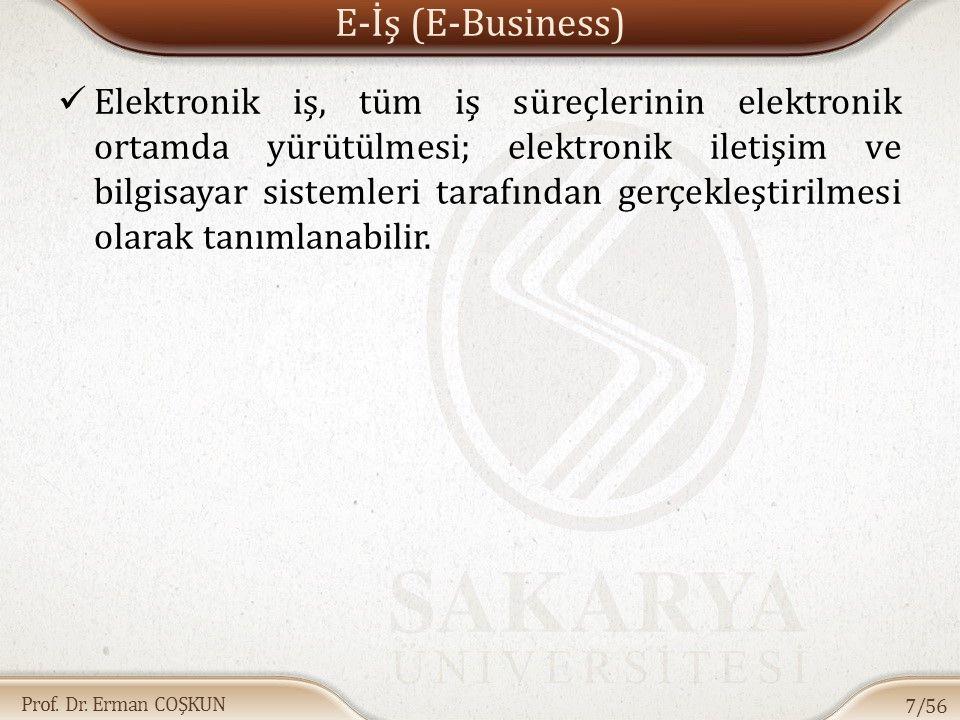 Prof. Dr. Erman COŞKUN E-İş (E-Business) Elektronik iş, tüm iş süreçlerinin elektronik ortamda yürütülmesi; elektronik iletişim ve bilgisayar sistemle