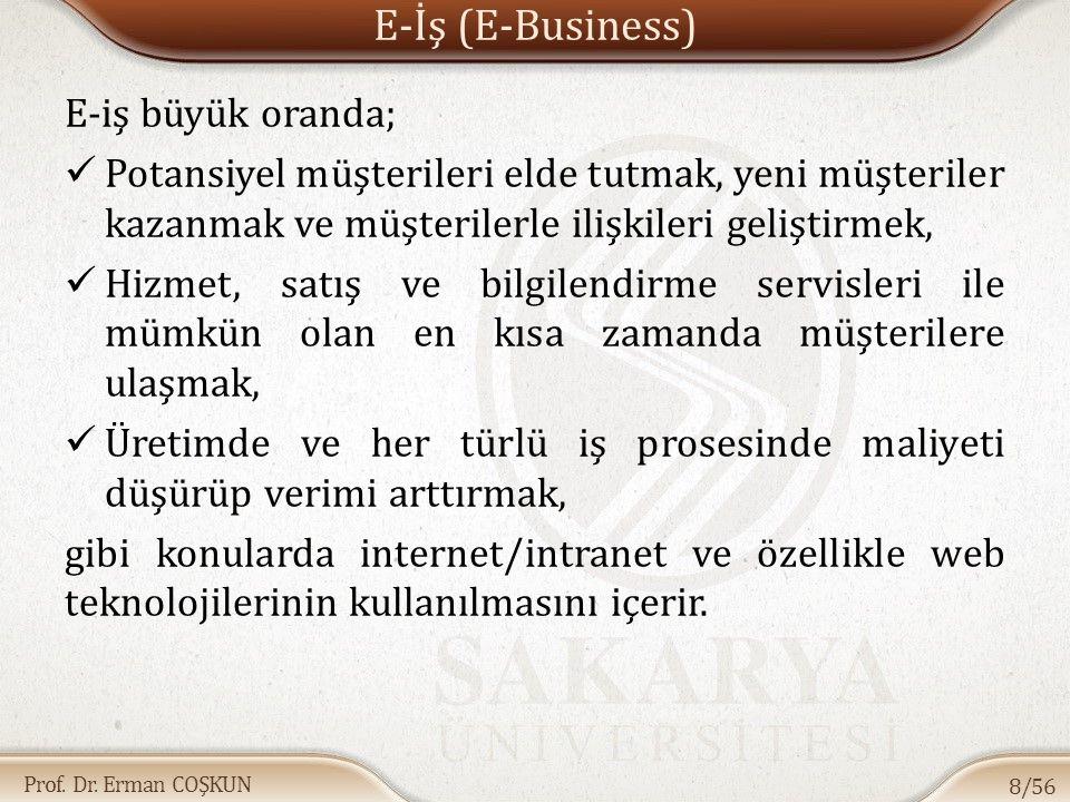 Prof. Dr. Erman COŞKUN E-İş (E-Business) E-iş büyük oranda; Potansiyel müşterileri elde tutmak, yeni müşteriler kazanmak ve müşterilerle ilişkileri ge