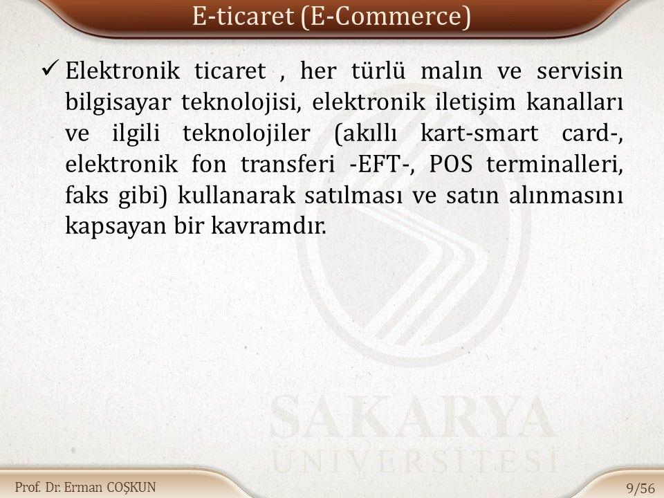 Prof. Dr. Erman COŞKUN E-ticaret (E-Commerce) Elektronik ticaret, her türlü malın ve servisin bilgisayar teknolojisi, elektronik iletişim kanalları ve
