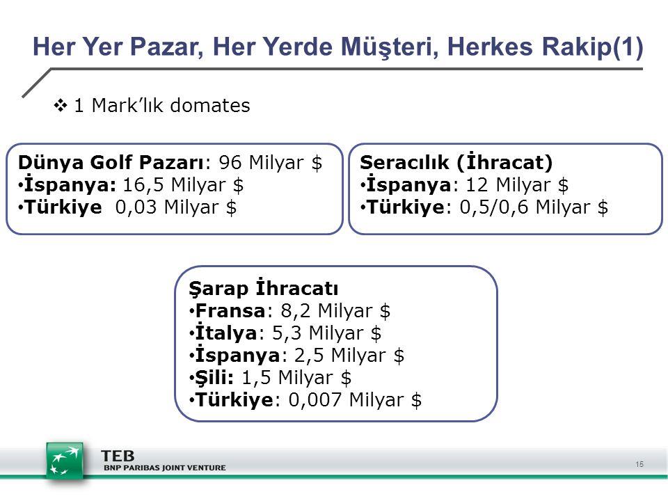15 Her Yer Pazar, Her Yerde Müşteri, Herkes Rakip(1)  1 Mark'lık domates Dünya Golf Pazarı: 96 Milyar $ İspanya: 16,5 Milyar $ Türkiye 0,03 Milyar $