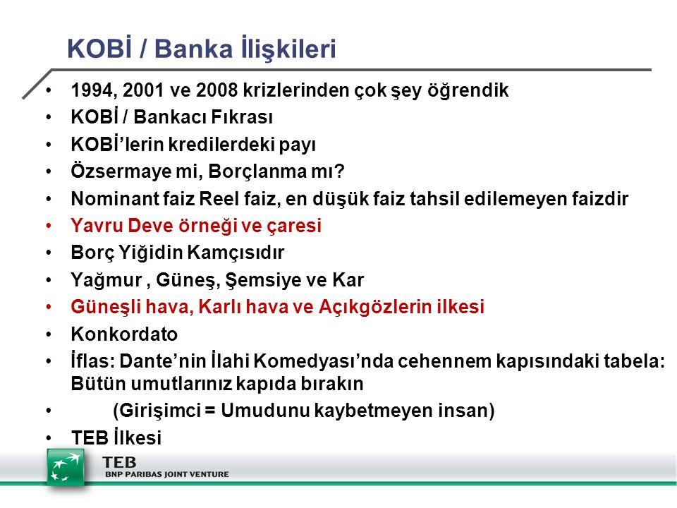 KOBİ / Banka İlişkileri 1994, 2001 ve 2008 krizlerinden çok şey öğrendik KOBİ / Bankacı Fıkrası KOBİ'lerin kredilerdeki payı Özsermaye mi, Borçlanma mı.