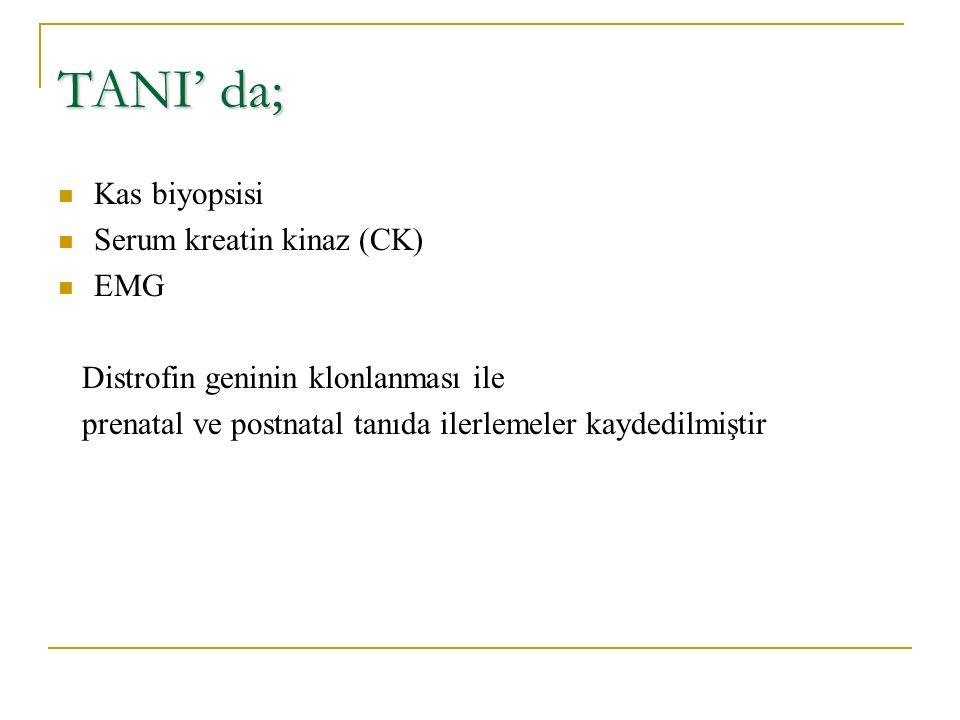 TANI' da; Kas biyopsisi Serum kreatin kinaz (CK) EMG Distrofin geninin klonlanması ile prenatal ve postnatal tanıda ilerlemeler kaydedilmiştir