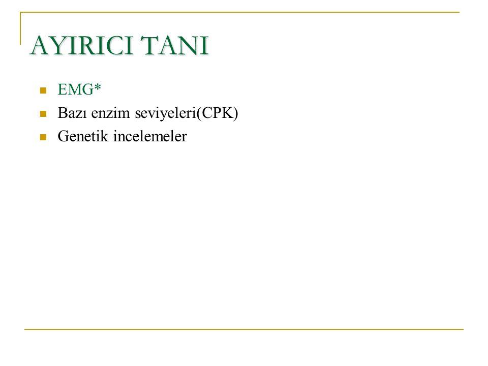 AYIRICI TANI EMG* Bazı enzim seviyeleri(CPK) Genetik incelemeler