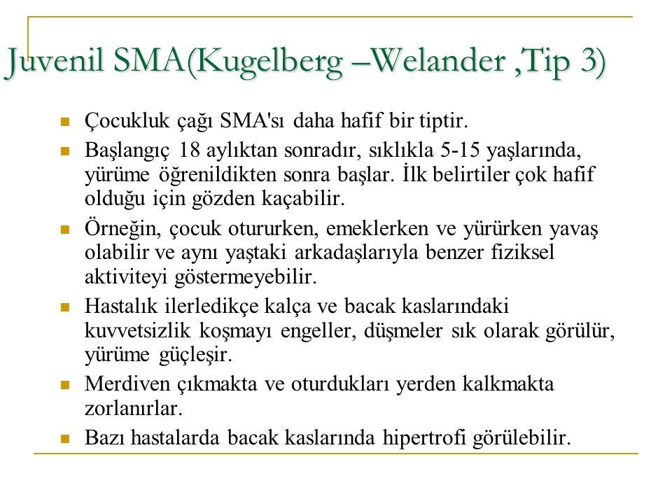 Juvenil SMA(Kugelberg –Welander,Tip 3) Çocukluk çağı SMA'sı daha hafif bir tiptir. Başlangıç 18 aylıktan sonradır, sıklıkla 5-15 yaşlarında, yürüme öğ