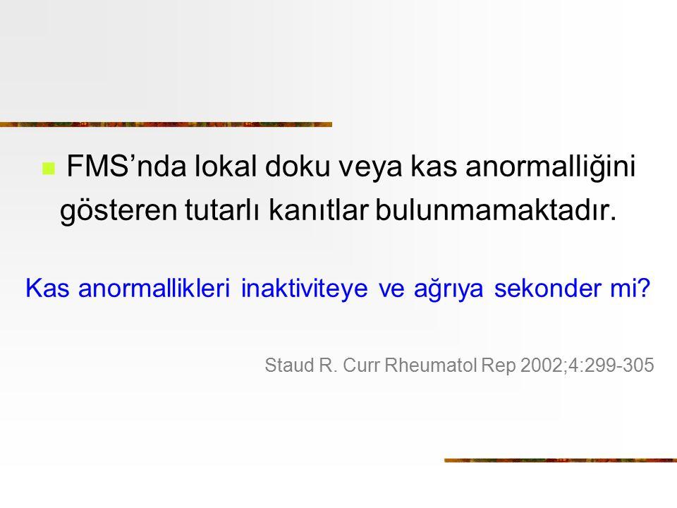 FMS'nda lokal doku veya kas anormalliğini gösteren tutarlı kanıtlar bulunmamaktadır. Kas anormallikleri inaktiviteye ve ağrıya sekonder mi? Staud R. C