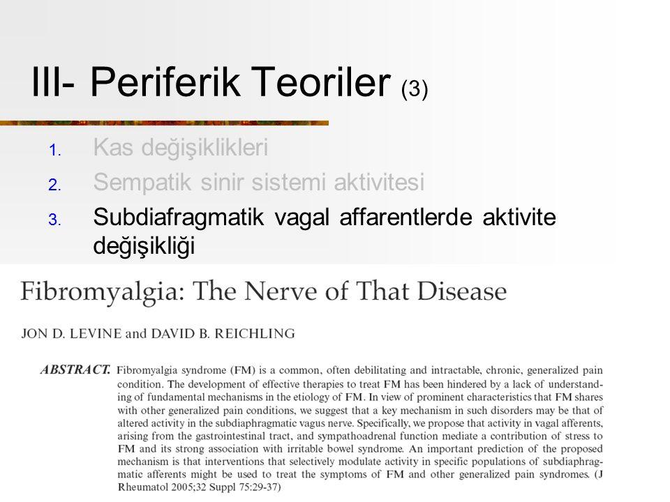 III- Periferik Teoriler (3) 1.Kas değişiklikleri 2.