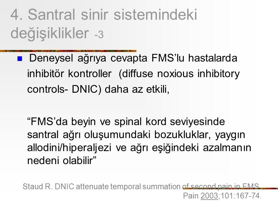 4. Santral sinir sistemindeki değişiklikler -3 Deneysel ağrıya cevapta FMS'lu hastalarda inhibitör kontroller (diffuse noxious inhibitory controls- DN