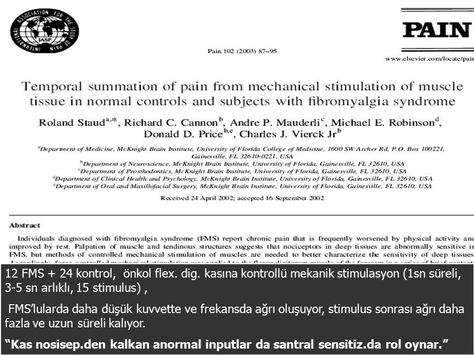 12 FMS + 24 kontrol, önkol flex. dig. kasına kontrollü mekanik stimulasyon (1sn süreli, 3-5 sn arlıklı, 15 stimulus), FMS'lularda daha düşük kuvvette
