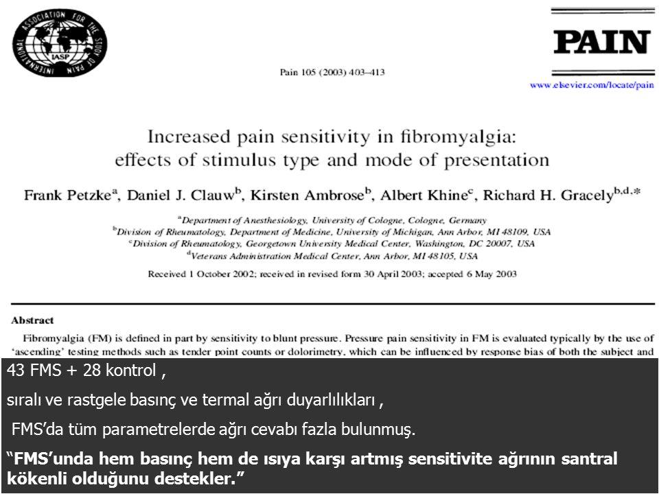 43 FMS + 28 kontrol, sıralı ve rastgele basınç ve termal ağrı duyarlılıkları, FMS'da tüm parametrelerde ağrı cevabı fazla bulunmuş.