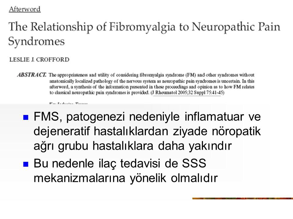 FMS, patogenezi nedeniyle inflamatuar ve dejeneratif hastalıklardan ziyade nöropatik ağrı grubu hastalıklara daha yakındır Bu nedenle ilaç tedavisi de SSS mekanizmalarına yönelik olmalıdır