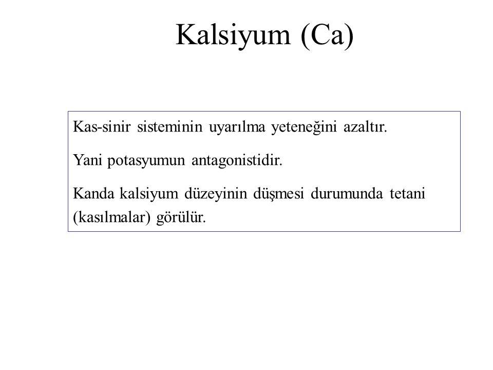 Kalsiyum (Ca) Kas-sinir sisteminin uyarılma yeteneğini azaltır. Yani potasyumun antagonistidir. Kanda kalsiyum düzeyinin düşmesi durumunda tetani (kas