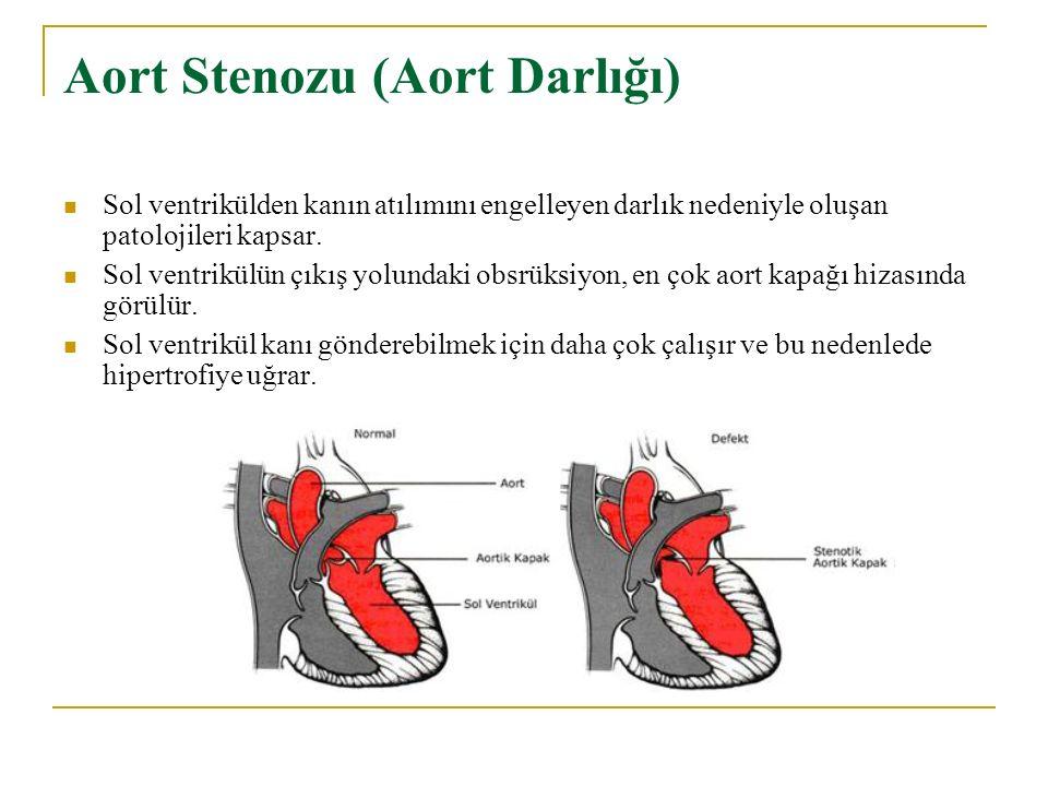 Aort Stenozu (Aort Darlığı) Sol ventrikülden kanın atılımını engelleyen darlık nedeniyle oluşan patolojileri kapsar. Sol ventrikülün çıkış yolundaki o