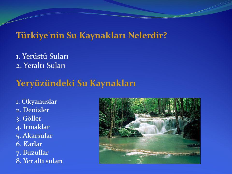 Türkiye'nin Su Kaynakları Nelerdir? 1. Yerüstü Suları 2. Yeraltı Suları Yeryüzündeki Su Kaynakları 1. Okyanuslar 2. Denizler 3. Göller 4. Irmaklar 5.
