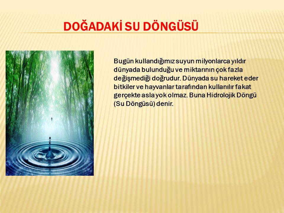 SU DÖNGÜSÜNÜN DÖRT DEĞİŞİK AŞAMASI VARDIR BUNLAR; 1- Yoğunlaşma (kondansasyon) 2- Yağış (precipitation) 3- Toprağa geçiş (Infiltration) ve yeraltı sularının oluşumu 4- Buharlaşma (Evapotranspiration)