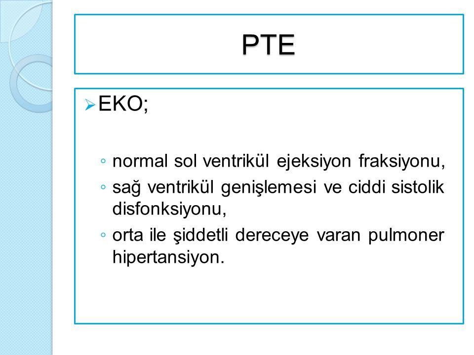 PTE  EKO; ◦ normal sol ventrikül ejeksiyon fraksiyonu, ◦ sağ ventrikül genişlemesi ve ciddi sistolik disfonksiyonu, ◦ orta ile şiddetli dereceye varan pulmoner hipertansiyon.