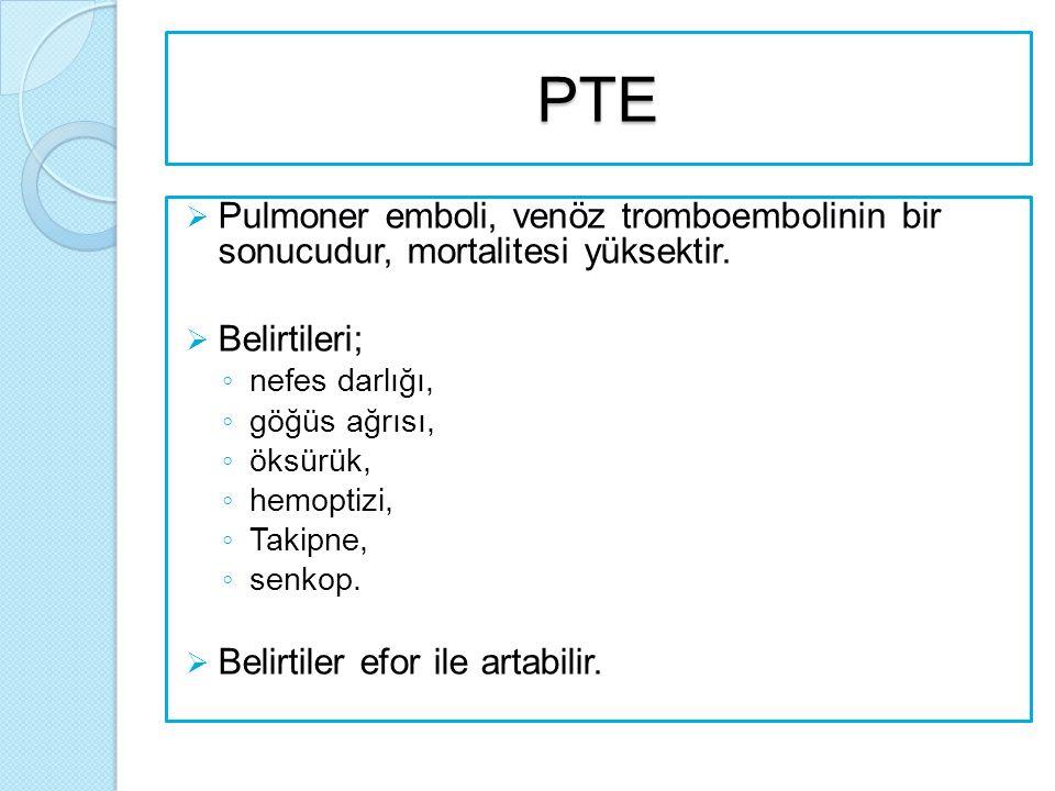 PTE  Pulmoner emboli, venöz tromboembolinin bir sonucudur, mortalitesi yüksektir.