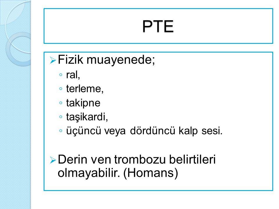 PTE  Fizik muayenede; ◦ ral, ◦ terleme, ◦ takipne ◦ taşikardi, ◦ üçüncü veya dördüncü kalp sesi.