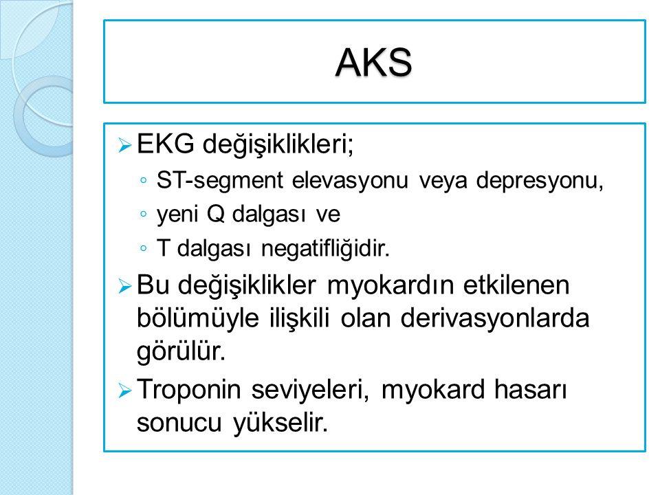 AKS  EKG değişiklikleri; ◦ ST-segment elevasyonu veya depresyonu, ◦ yeni Q dalgası ve ◦ T dalgası negatifliğidir.