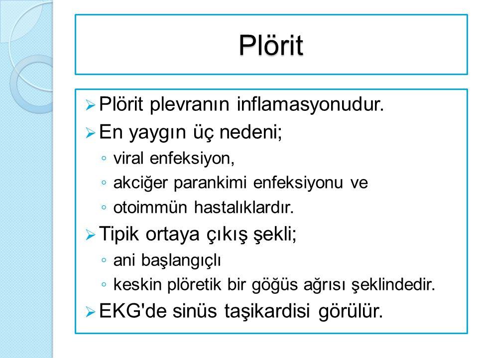 Plörit  Plörit plevranın inflamasyonudur.