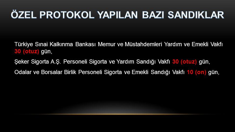 Türkiye Sınai Kalkınma Bankası Memur ve Müstahdemleri Yardım ve Emekli Vakfı 30 (otuz) gün, Şeker Sigorta A.Ş. Personeli Sigorta ve Yardım Sandığı Vak