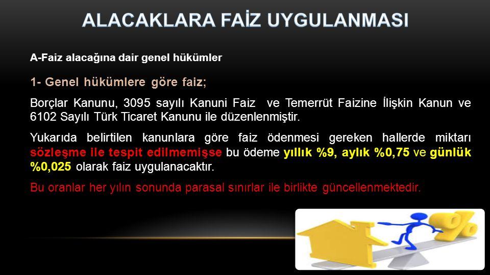 1- Genel hükümlere göre faiz; Borçlar Kanunu, 3095 sayılı Kanuni Faiz ve Temerrüt Faizine İlişkin Kanun ve 6102 Sayılı Türk Ticaret Kanunu ile düzenlenmiştir.