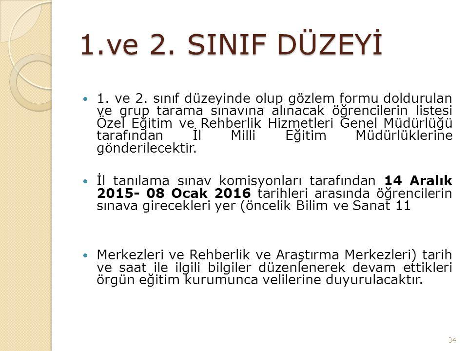 1.ve 2. SINIF DÜZEYİ 1. ve 2.