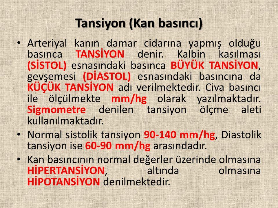 Tansiyon (Kan basıncı) Arteriyal kanın damar cidarına yapmış olduğu basınca TANSİYON denir.