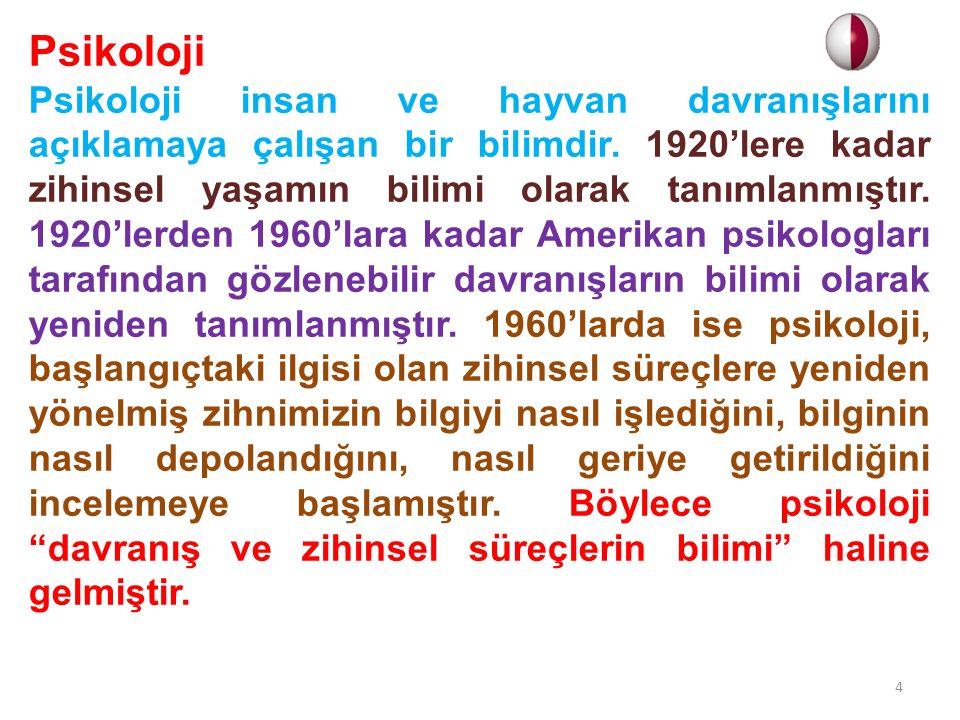 Psikoloji Psikoloji insan ve hayvan davranışlarını açıklamaya çalışan bir bilimdir. 1920'lere kadar zihinsel yaşamın bilimi olarak tanımlanmıştır. 192