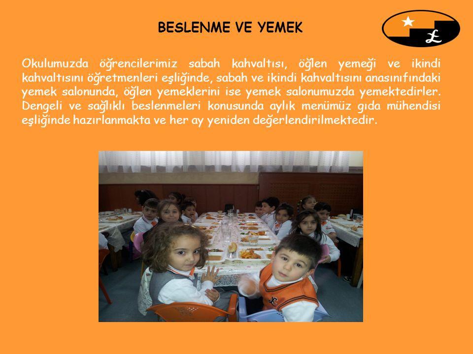 Okulumuzda öğrencilerimiz sabah kahvaltısı, öğlen yemeği ve ikindi kahvaltısını öğretmenleri eşliğinde, sabah ve ikindi kahvaltısını anasınıfındaki ye