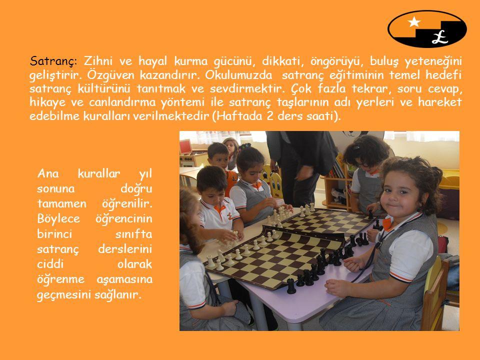 Satranç: Zihni ve hayal kurma gücünü, dikkati, öngörüyü, buluş yeteneğini geliştirir. Özgüven kazandırır. Okulumuzda satranç eğitiminin temel hedefi s