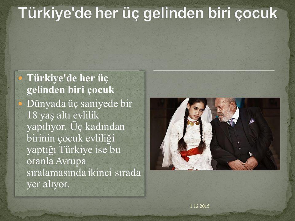 1.12.2015 imam şok oldu! Çocuk gelin ihbar etti, imam şok oldu! Bitlis'in Adilcevaz İlçesi'nde yaşayan 16 yaşındaki R.D., 12 bin lira karşılığında M.E