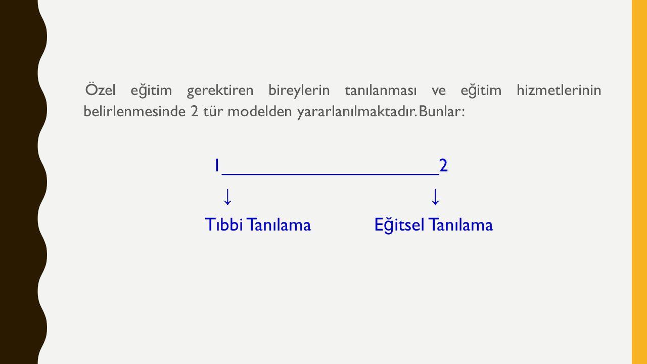 Özel e ğ itim gerektiren bireylerin tanılanması ve e ğ itim hizmetlerinin belirlenmesinde 2 tür modelden yararlanılmaktadır.