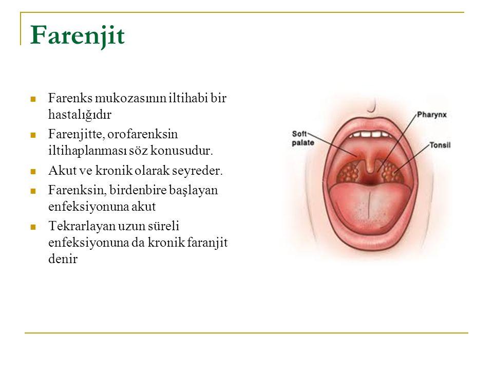 Farenjit Farenks mukozasının iltihabi bir hastalığıdır Farenjitte, orofarenksin iltihaplanması söz konusudur. Akut ve kronik olarak seyreder. Farenksi