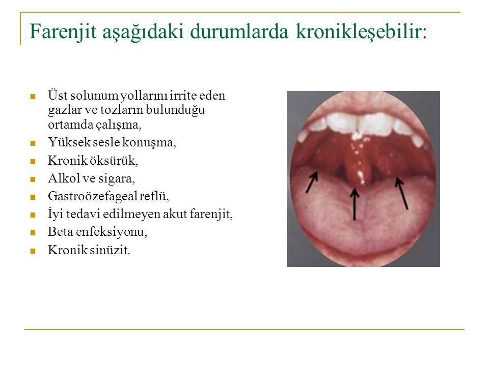 Farenjit aşağıdaki durumlarda kronikleşebilir: Üst solunum yollarını irrite eden gazlar ve tozların bulunduğu ortamda çalışma, Yüksek sesle konuşma, K