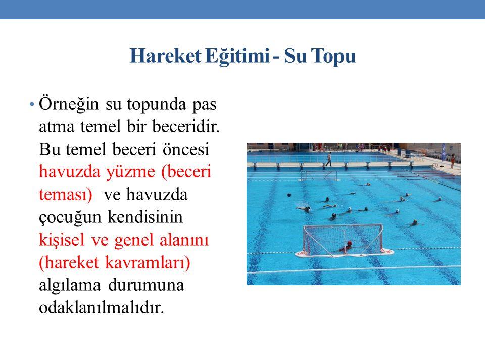 Hareket Eğitimi - Su Topu Örneğin su topunda pas atma temel bir beceridir. Bu temel beceri öncesi havuzda yüzme (beceri teması) ve havuzda çocuğun ken