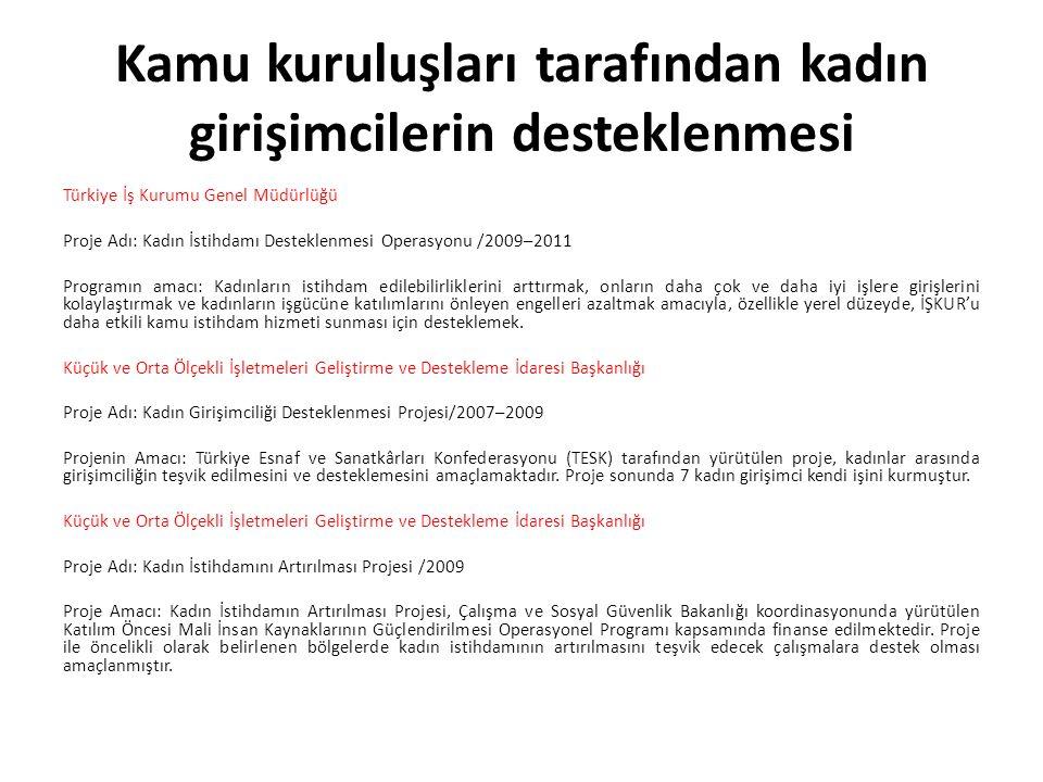 Kamu kuruluşları tarafından kadın girişimcilerin desteklenmesi Türkiye İş Kurumu Genel Müdürlüğü Proje Adı: Kadın İstihdamı Desteklenmesi Operasyonu /