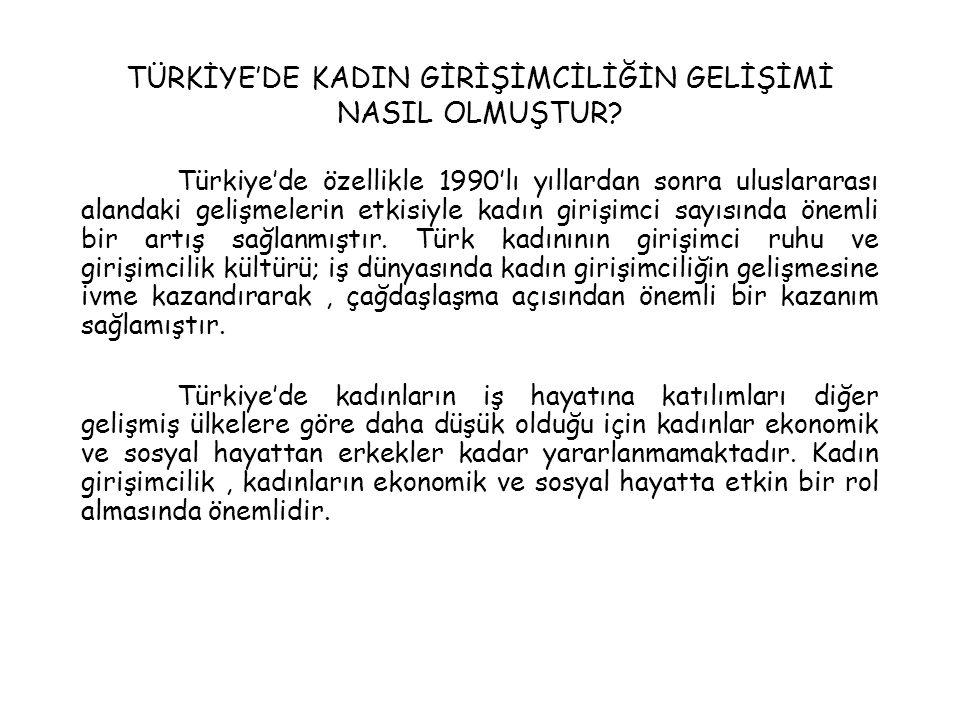 TÜRKİYE'DE KADIN GİRİŞİMCİLİĞİN GELİŞİMİ NASIL OLMUŞTUR? Türkiye'de özellikle 1990'lı yıllardan sonra uluslararası alandaki gelişmelerin etkisiyle kad