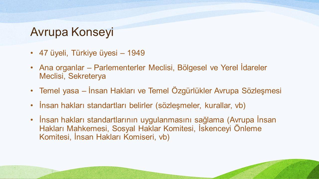 Avrupa Konseyi 47 üyeli, Türkiye üyesi – 1949 Ana organlar – Parlementerler Meclisi, Bölgesel ve Yerel İdareler Meclisi, Sekreterya Temel yasa – İnsan Hakları ve Temel Özgürlükler Avrupa Sözleşmesi İnsan hakları standartları belirler (sözleşmeler, kurallar, vb) İnsan hakları standartlarının uygulanmasını sağlama (Avrupa İnsan Hakları Mahkemesi, Sosyal Haklar Komitesi, İskenceyi Önleme Komitesi, İnsan Hakları Komiseri, vb)