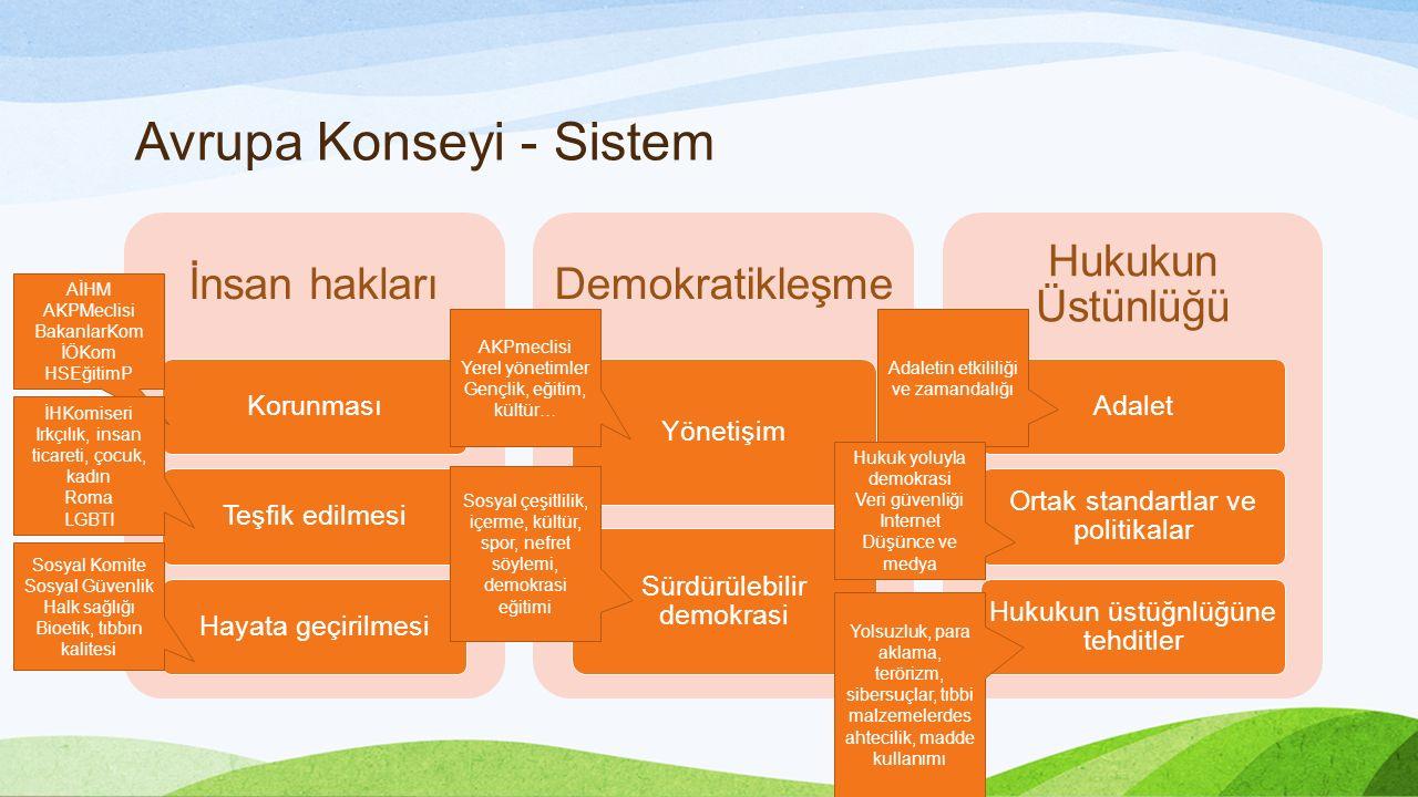 Avrupa Konseyi - Sistem İnsan hakları KorunmasıTeşfik edilmesiHayata geçirilmesi Demokratikleşme Yönetişim Sürdürülebilir demokrasi Hukukun Üstünlüğü Adalet Ortak standartlar ve politikalar Hukukun üstüğnlüğüne tehditler AİHM AKPMeclisi BakanlarKom İÖKom HSEğitimP İHKomiseri Irkçılık, insan ticareti, çocuk, kadın Roma LGBTI Sosyal Komite Sosyal Güvenlik Halk sağlığı Bioetik, tıbbın kalitesi AKPmeclisi Yerel yönetimler Gençlik, eğitim, kültür… Sosyal çeşitlilik, içerme, kültür, spor, nefret söylemi, demokrasi eğitimi Adaletin etkililiği ve zamandalığı Hukuk yoluyla demokrasi Veri güvenliği Internet Düşünce ve medya Yolsuzluk, para aklama, terörizm, sibersuçlar, tıbbi malzemelerdes ahtecilik, madde kullanımı
