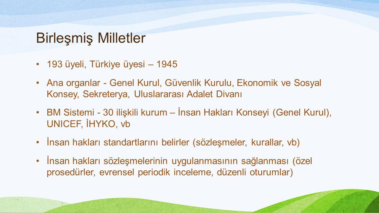 Birleşmiş Milletler 193 üyeli, Türkiye üyesi – 1945 Ana organlar - Genel Kurul, Güvenlik Kurulu, Ekonomik ve Sosyal Konsey, Sekreterya, Uluslararası Adalet Divanı BM Sistemi - 30 ilişkili kurum – İnsan Hakları Konseyi (Genel Kurul), UNICEF, İHYKO, vb İnsan hakları standartlarını belirler (sözleşmeler, kurallar, vb) İnsan hakları sözleşmelerinin uygulanmasının sağlanması (özel prosedürler, evrensel periodik inceleme, düzenli oturumlar)