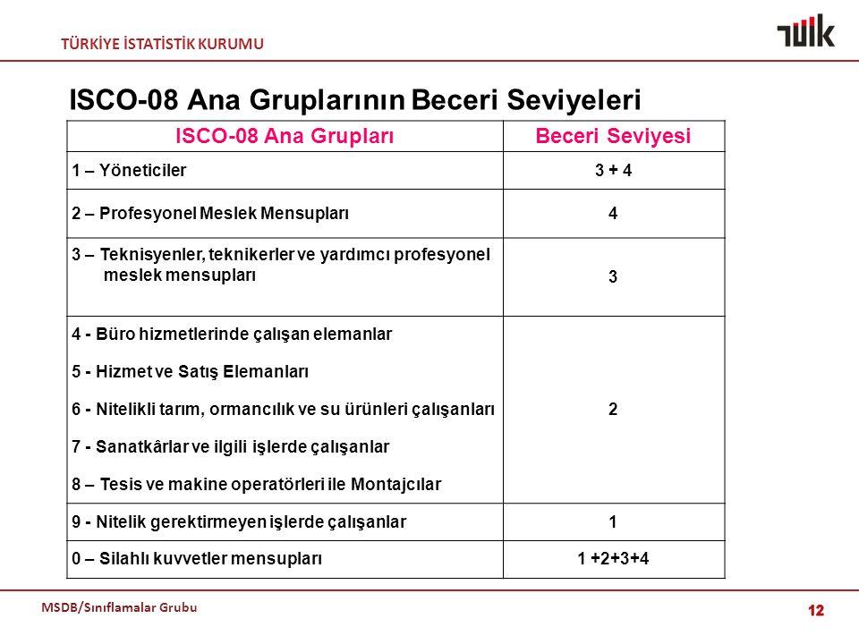 TÜRKİYE İSTATİSTİK KURUMU MSDB/Sınıflamalar Grubu ISCO-08 Ana Gruplarının Beceri Seviyeleri 12 ISCO-08 Ana GruplarıBeceri Seviyesi 1 – Yöneticiler3 +