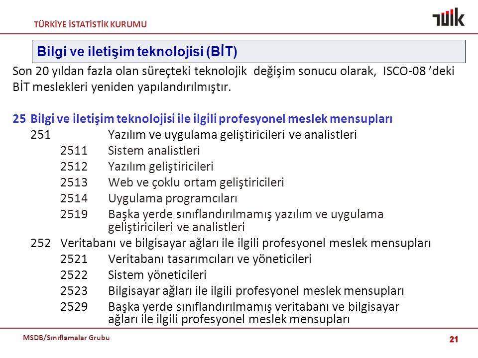 TÜRKİYE İSTATİSTİK KURUMU MSDB/Sınıflamalar Grubu 21 Son 20 yıldan fazla olan süreçteki teknolojik değişim sonucu olarak, ISCO-08 'deki BİT meslekleri