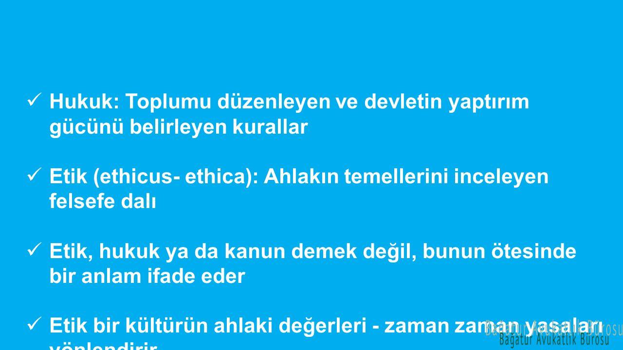 Hukuk: Toplumu düzenleyen ve devletin yaptırım gücünü belirleyen kurallar Etik (ethicus- ethica): Ahlakın temellerini inceleyen felsefe dalı Etik, huk