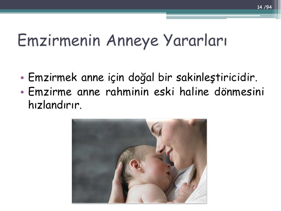 Emzirmenin Anneye Yararları Emzirmek anne için doğal bir sakinleştiricidir. Emzirme anne rahminin eski haline dönmesini hızlandırır. 14 /94