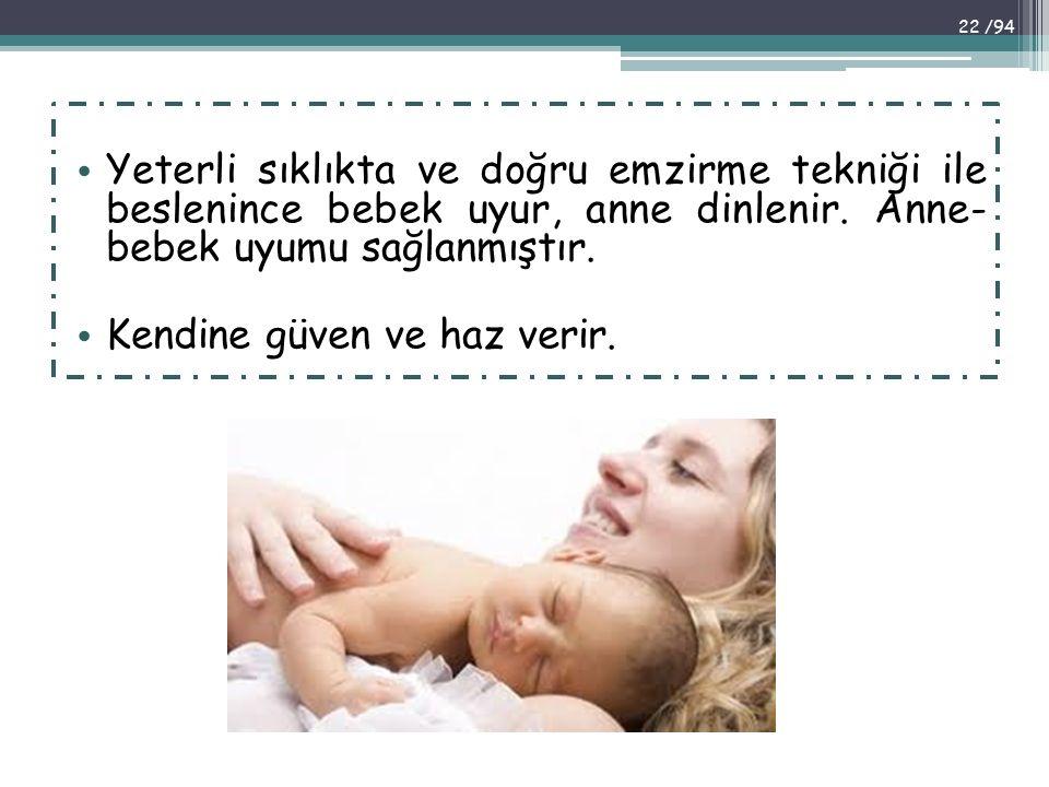 Yeterli sıklıkta ve doğru emzirme tekniği ile beslenince bebek uyur, anne dinlenir. Anne- bebek uyumu sağlanmıştır. Kendine güven ve haz verir. 22 /94