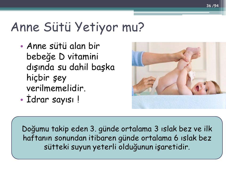 Anne Sütü Yetiyor mu? Anne sütü alan bir bebeğe D vitamini dışında su dahil başka hiçbir şey verilmemelidir. İdrar sayısı ! Doğumu takip eden 3. günde