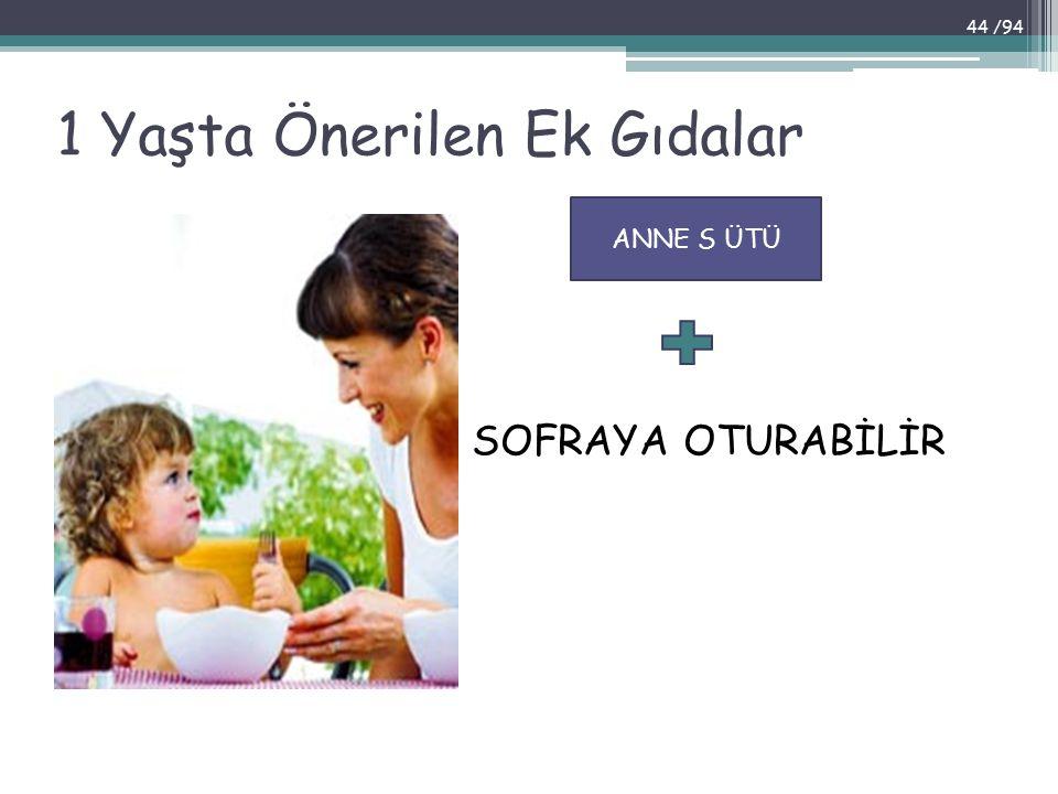 1 Yaşta Önerilen Ek Gıdalar SOFRAYA OTURABİLİR ANNE S ÜTÜ 44 /94